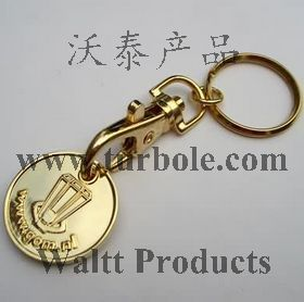 Gold Trolley Coin Keychains, Gold Trolley Coin Keyring